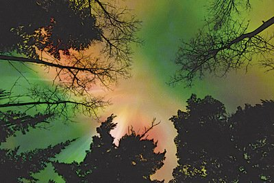 Rare red northern lights on the Pigeon River appeared directly overhead in October 2011.