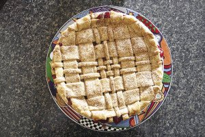 A freshly made holiday pie.  The Pie Place