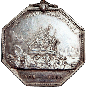 "The Arctic Medal, instituted in 1857 by Queen Victoria, was granted ""to all persons of every rank and class, who have been engaged in the several expeditions to the Arctic Region, whether of discovery or search, between the years 1818 and 1855."" The original medal had the recipient's name with the reigning monarch on one side [upper left], and the other side showed a three-masted ship surrounded by ice floes [above]. The Arctic Medal for John Hartnell, who died on January 4, 1846, was presented to his descendant Donald Bray a century later on Jan. 6, 1986. 