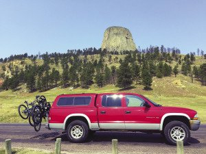 The Chandler family chariot near Devil's Tower.
