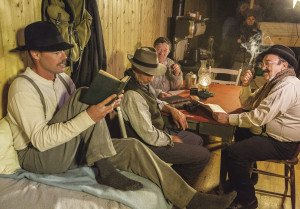 Actors depicting members of the Group of Seven inside the period boxcar that was recreated for the documentary.