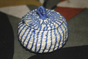 A typical example of a stitched coil basket, made in Grenada.