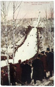 A selection of postcards showing early ski jumping competitions held at Chester Bowl. | Courtesy of Tony Dierckins