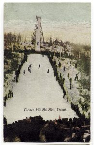 A postcard showing early ski jumping competitions held at Chester Bowl. | Courtesy of Tony Dierckins