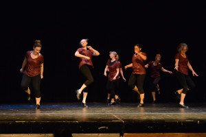 The adult tap dancers prepare for the upcoming show. | Breana Roy