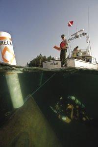 Diver on the bow of the sunken America. | BRETT SEYMOUR