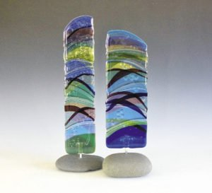 Nancy Seaton works with blown glass to create Superior inspired totems. Her work can be found at Sivertson Gallery in Grand Marais. | NANCY SEATON
