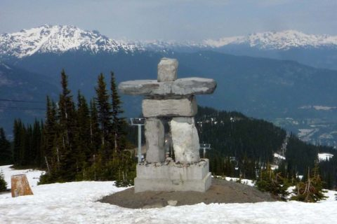 Ilanaaq, the inuksuk mascot logo of the 2010 Winter Olympics in Whistler, sits on Whistler Village Gondola on top of Whistler Mountain.