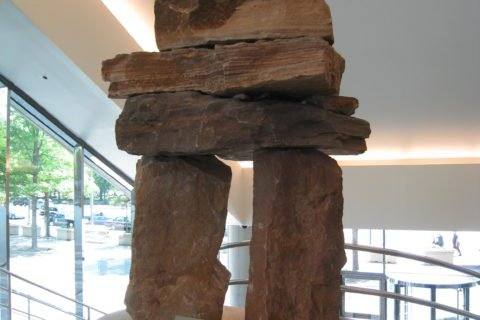 Inuksuk sculpture by David Ruben Piqtoukun, an artist from the Northwest Territories, is showcased in the lobby of the Canadian Embassy in Washington, D.C.