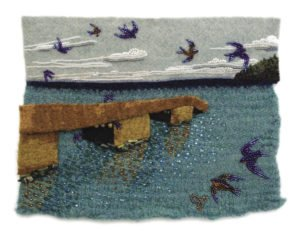 A felt portrait of the Hovland Dock, created by fiber artist Jo Wood. | JO WOOD