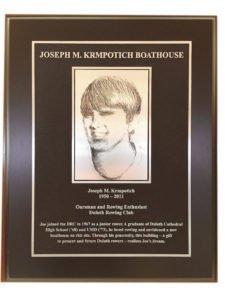 Joseph M. Krmpotich Boathouse plaque. | ERIC CHANDLER