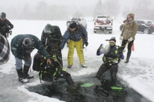 Wally's Thunder Country Diving provides an ice diving course in March.