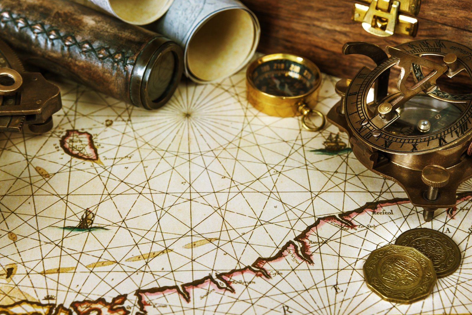 Mariners relied heavily on clocks and angle-measuring instruments like the quadrant, the astrolabe, and later the sextant to plot their location on a trackless sea, aligning the stars in the sky to find their own place on Earth.