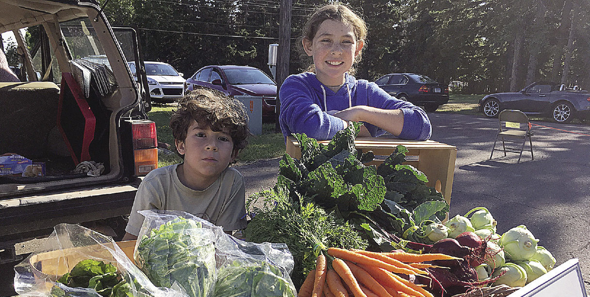 Eli and Mary June Wharton man the vegetable stand at a local farmer's market. | SUBMITTED