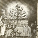 First published image in U.S. of Christmas Tree was in 1836 as a front piece to The Stranger's Gift by Hermann Bokum.   WIKIMEDIA