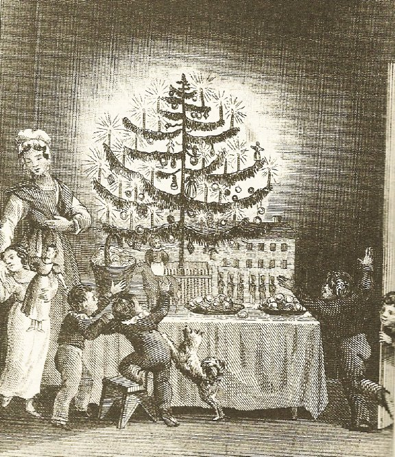 First published image in U.S. of Christmas Tree was in 1836 as a front piece to The Stranger's Gift by Hermann Bokum. | WIKIMEDIA