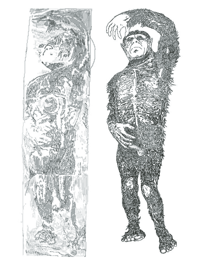 A depiction of the Minnesota Iceman, as described by Bernard Hauvelmans and Ivan T. Sanderson. | WIKIMEDIA