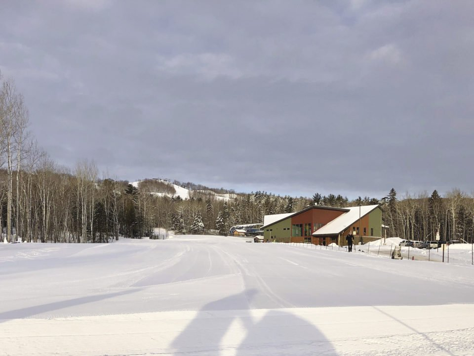 A perfectly groomed stadium area of Grand Avenue Nordic Center and Chalet at the base of Spirit Mountain in Duluth.
