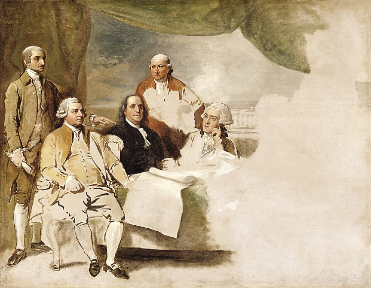 "U.S. delegation at the Treaty of Paris included John Jay, John Adams, Benjamin Franklin, Henry Laurens and William Temple Franklin. They are depicted in this painting by Benjamin West, ""American Commissioners of the Preliminary Peace Agreement with Great Britain""."