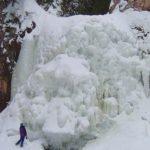 Barrier Falls in the winter. Devil Track River near Grand Marais, MN