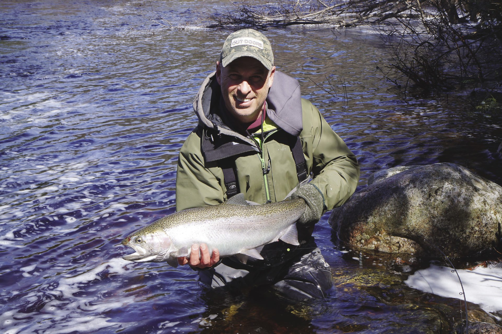 Gord with a steelhead he caught last April.