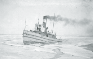 Taken sometime before 1922, three people stand aboard the James Whalen tug as it cuts through the ice in the Thunder Bay harbour.