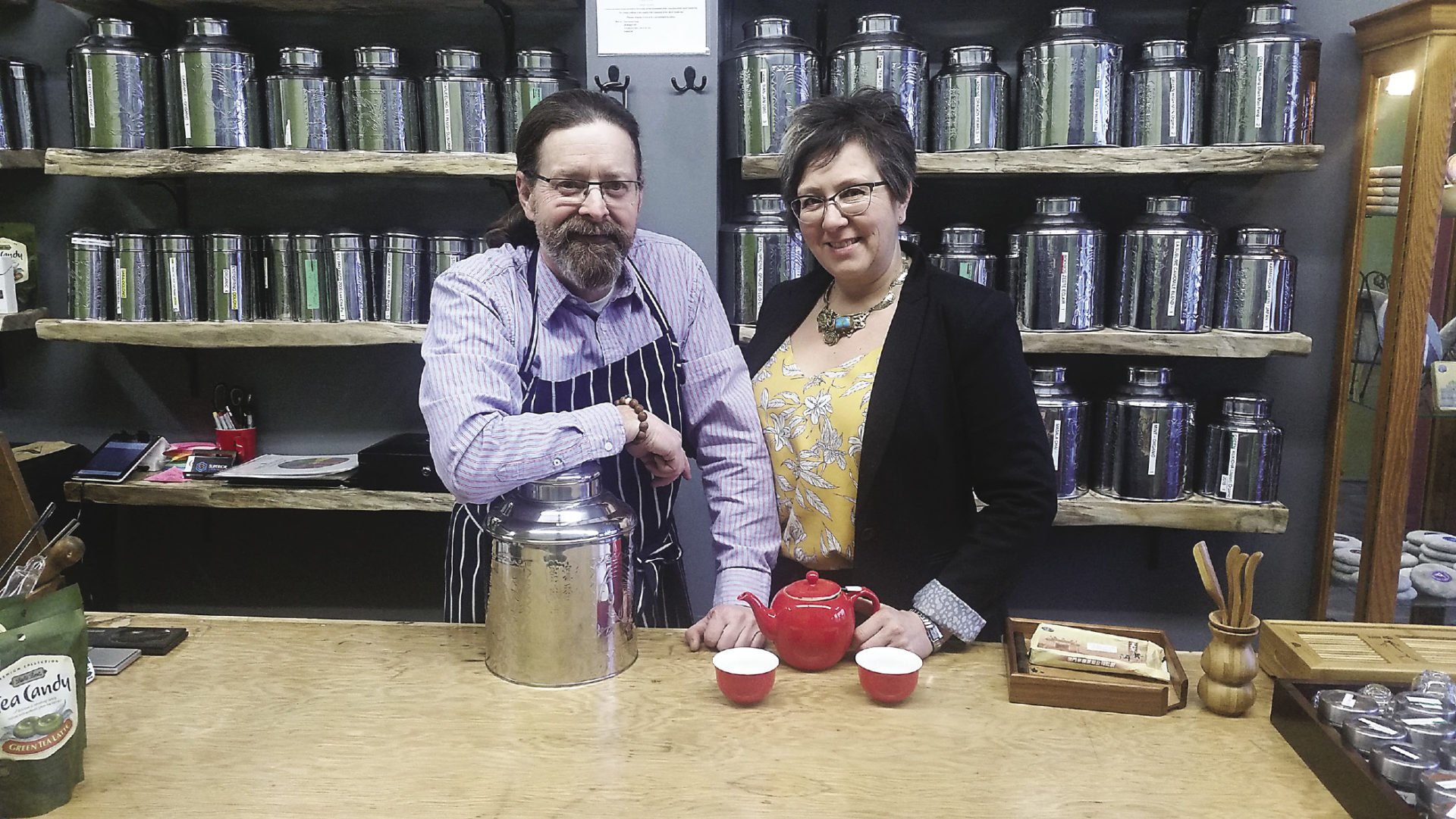 Marc Bohemier and Denise Atkinson, owners of Tea Horse in Thunder Bay.