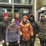 The musher and stellar handling crew at the Beargrease race finish.