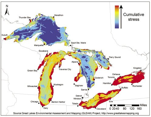 Environmental stress mapped across the surface of the Great Lakes, based on the combined influence of 34 different environmental threats.