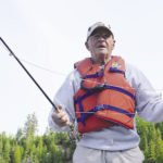 Ray Dupuis Sr. fly fishing on the Nipigon River.