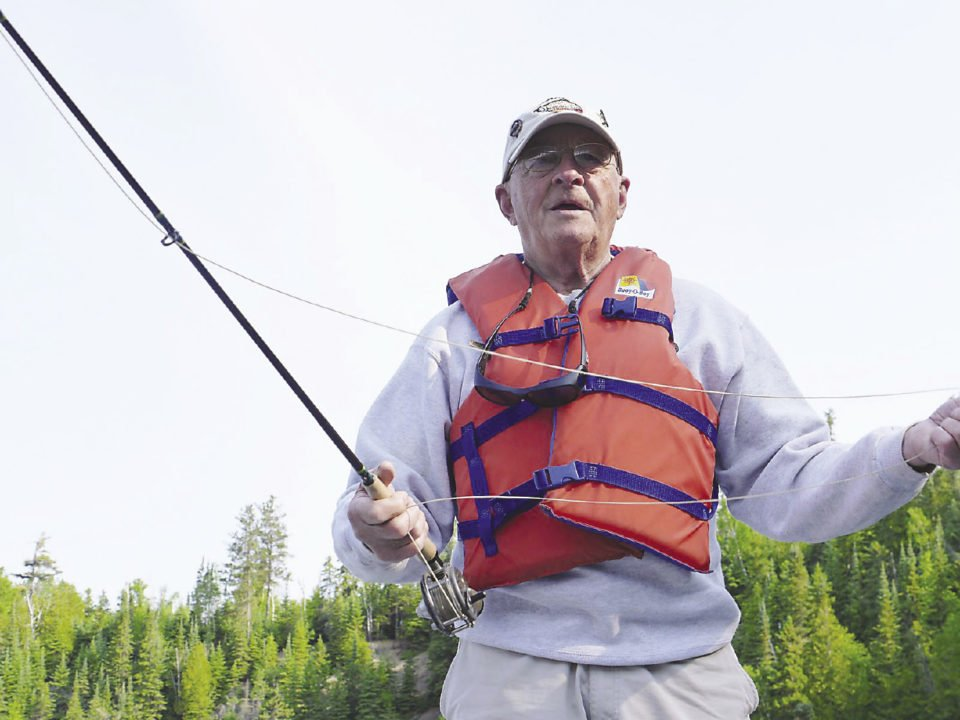 Ray Dupuis Sr. fly fishing on the Nipigon River.