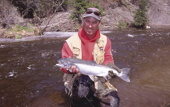 Gord Ellis with a Portage Creek steelhead in 2002.
