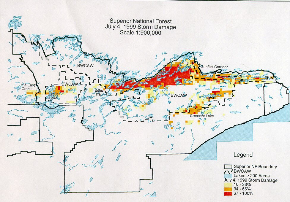 The 1999 blowdown hit hardest in the north central part of the Boundary Waters. | USDA FOREST SERVICE—SUPERIOR NATIONAL FOREST