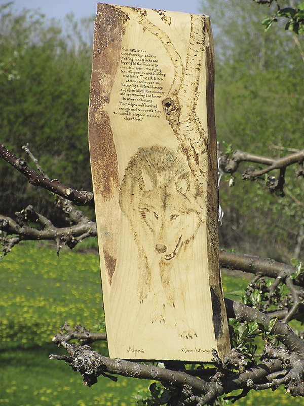 This pyrography piece by Buczynski was created using a smokeless powder burn.
