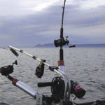 Downrigging for salmon in front of Thunder Bay's Sleeping Giant.