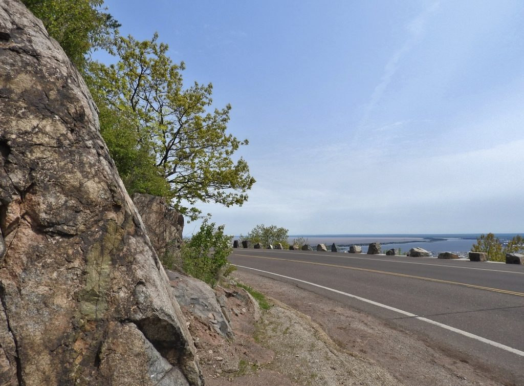 Skyline Drive in Duluth is built on an ancient shoreline from Glacial Lake Duluth. Waves from a lake 600 feet higher than today's Lake Superior eroded into solid bedrock.