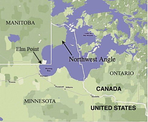 Map of the Northwest Angle in Minnesota, bordering Manitoba, Ontario and Lake of the Woods.