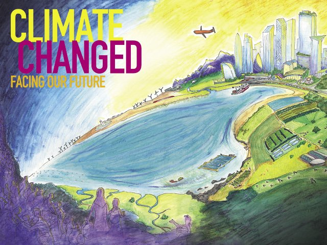 "According to artist Sharon Stevenson, the poster for Gustavus Adolphus College's Nobel Conference ""Climate Changed"" illustrates some of the solutions for living in a changed climate, as well as the attendant reality of mass migrations."