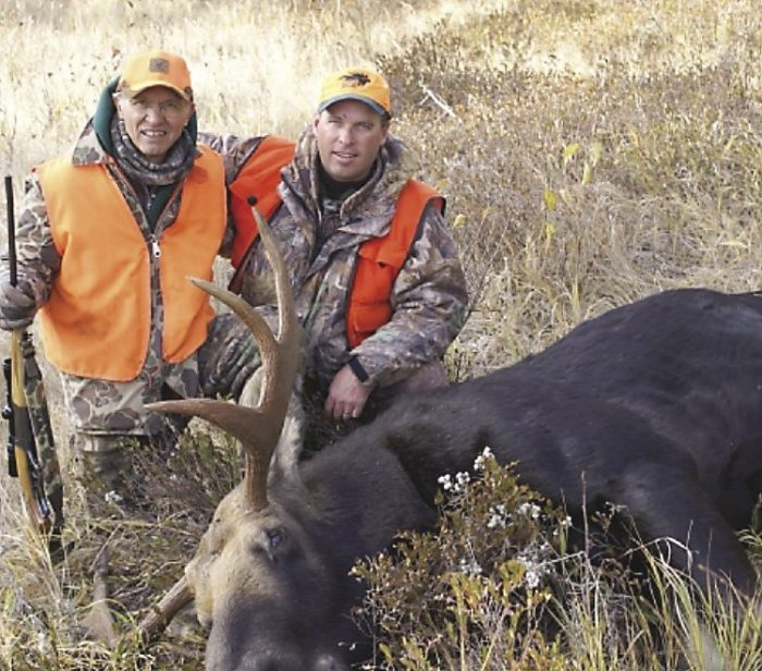 Gord Ellis Sr. and Jr. with a nice bull moose.