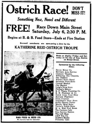 American poster for ostrich races with appearance by Katherine Reid.